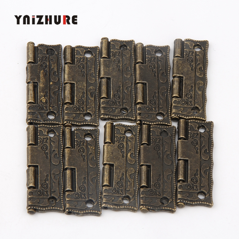 10PCS Cabinet Door Hinge Door Hinges For DIY Box Furniture Hinges With Screws 4 Holes Bag Accessory Bronze Tone