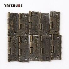 10 Uds bisagras de puerta de armario bisagras de puerta para muebles de caja DIY bisagras con tornillos 4 agujeros accesorios de bolsa tono bronce