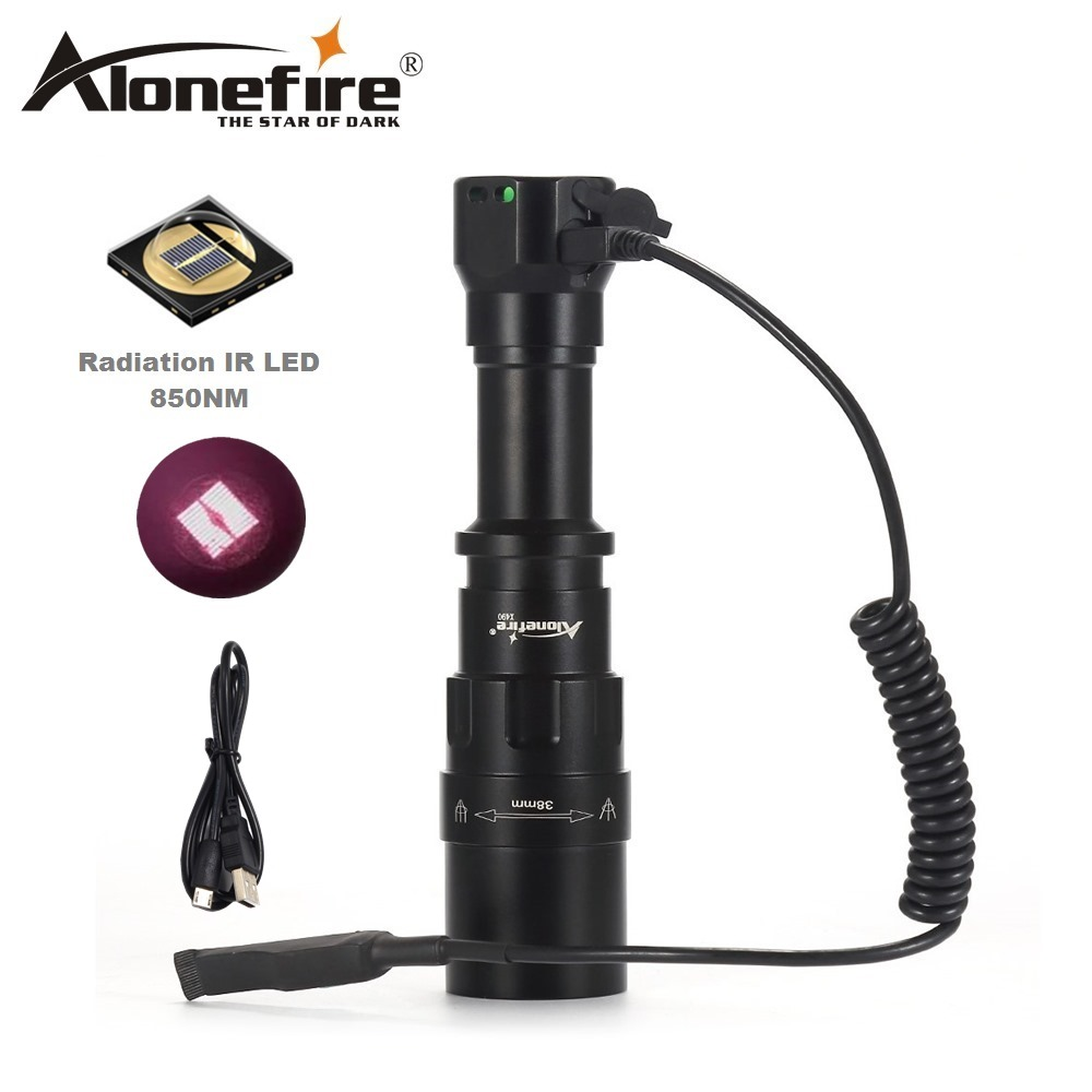 AloneFire X490 5W 850NM LED Flashlight Infrared Light Night Vision Lamp Troch Use Rechargeable18650 Battery For Hunting torch ir 850nm 5w night vision infrared zoomable led flashlight torchcamping on off mode with gun clip dual mode remote pressure switc
