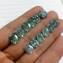 Муассанит Подушка 2.2ct, 3ct зеленый VVS1 Лаборатория алмаз драгоценный камень россыпью DIY талисманы ювелирных изделий делая подругу женщины подарок