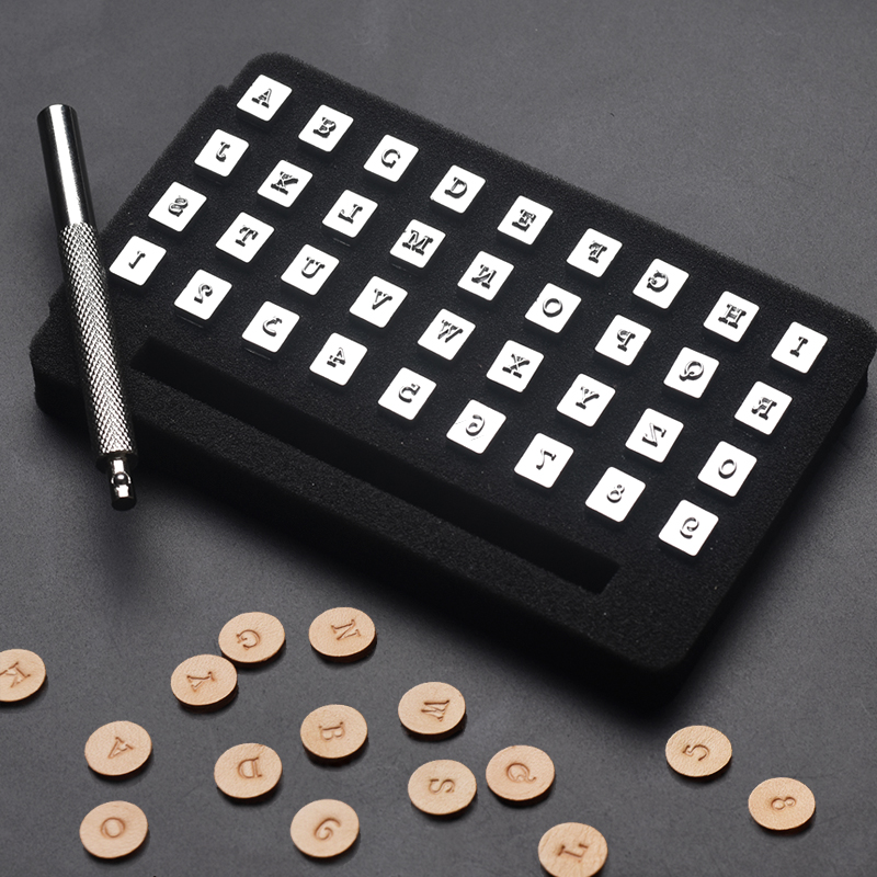 36 piezas 3mm/6mm acero punzón alfabeto letra número cuero estampadora conjunto Metal cuero herramientas de perforación para DIY cuero artesanal herramienta