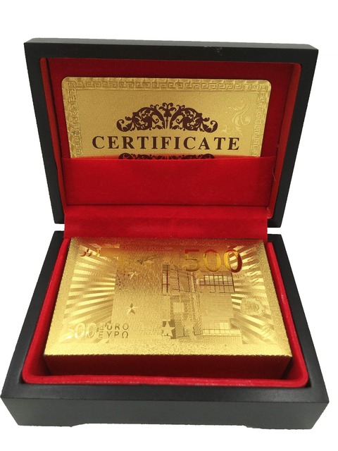 Euro 500 24k Carat Gold Foil Plated Card Playing Cards Gift Collection Certificate
