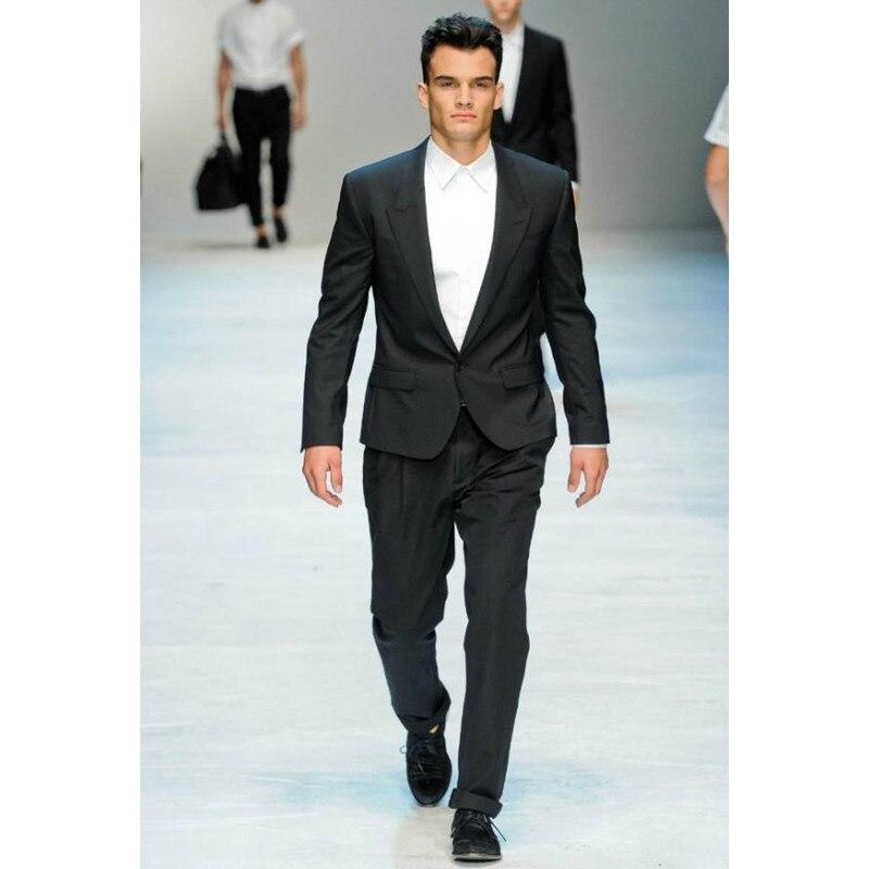 Módní černé svatební obleky pro muže Peaked klopy Muži Tuxedos Formální Pánské obleky Slim Fit One Button Men Svatební oblek (bunda + kalhoty)