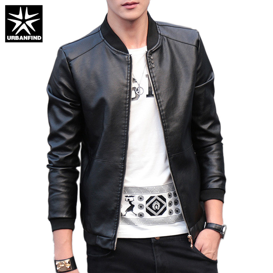 URBANFIND 2018 Autumn Winter Men's Leather Coat Korean Slim Fit Leather Jackets Size M-4XL Fashion Casual Outwear For Man Jacket