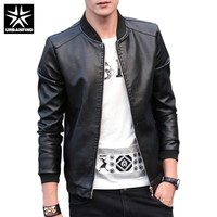 URBANFIND 2018 Autumn Winter Men's Leather Coat Korean Slim Fit Leather Jackets Size M 4XL Fashion Casual Outwear for Man Jacket