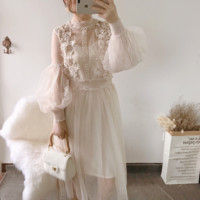 Summer Dress Sale Robe 2018 New Dress Fairy Bubble Lantern Sleeve Mesh Yarn Lace Flower Three dimensional Elastic Waist Female