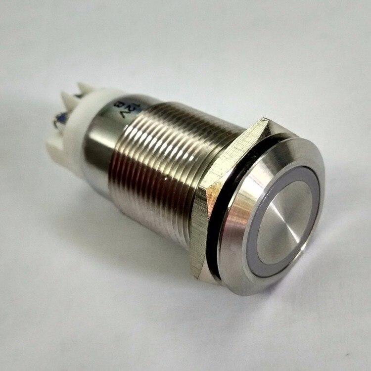 19mm screw terminal 1NO1NC Latching self locking 12V Blue ring led push button electrical light switch