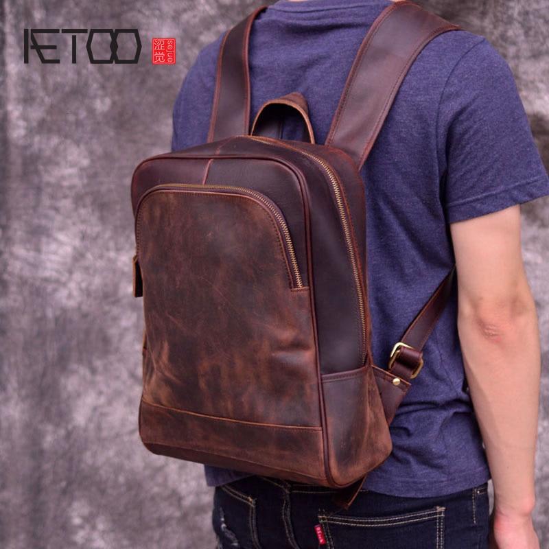 AETOO New leather men's shoulder bag, head-layer cowhide travel backpack, retro mad horse bag, computer bag