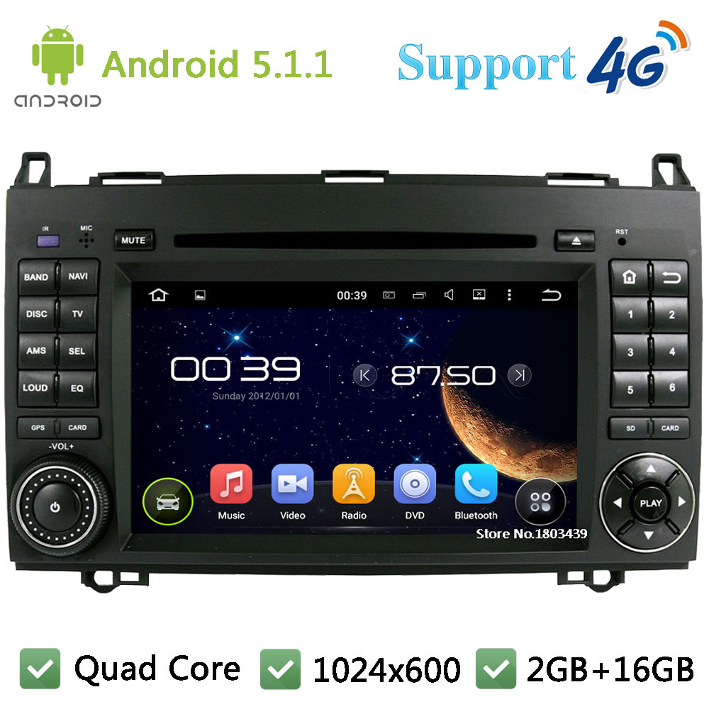 Quad Core 1024*600 Android 5.1.1 Car DVD Player Radio 4G WIFI GPS Map For Mercedes-Benz Sprinter 2500 Vito Viano W169 W245 W469