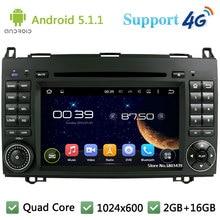 Quad Core 1024*600 Android 5.1.1 Car DVD Player Radio 4G WIFI GPS Map For Mercedes-Benz Sprinter 2500 Vito Viano W169 W245 W469