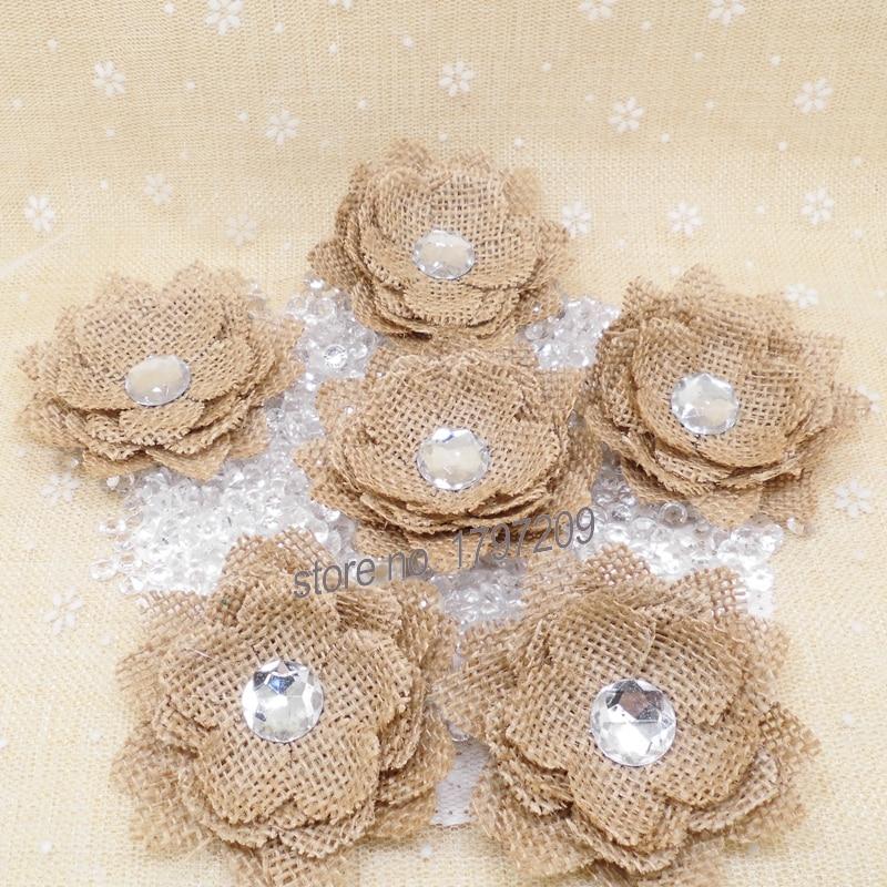 Vintage Wedding Ideas Diy: Natural Jute Hessian Flower Diamond Handmade Burlap Rose
