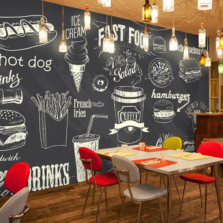Custom 3d mural blackboard chalk hand painted bread pizza for Cafe wall mural