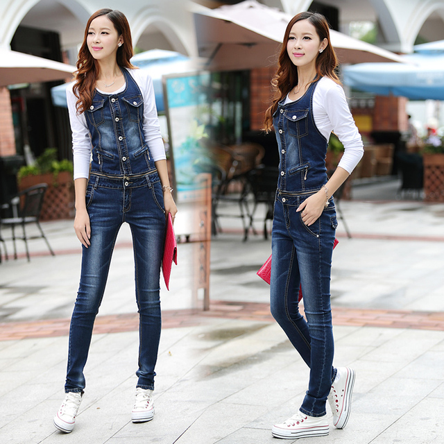 2016 Casual Street Women Jumpsuit Denim Overalls Jeans Spaghetti Strap Overall Slim Full Pants With Pockets Plus Size