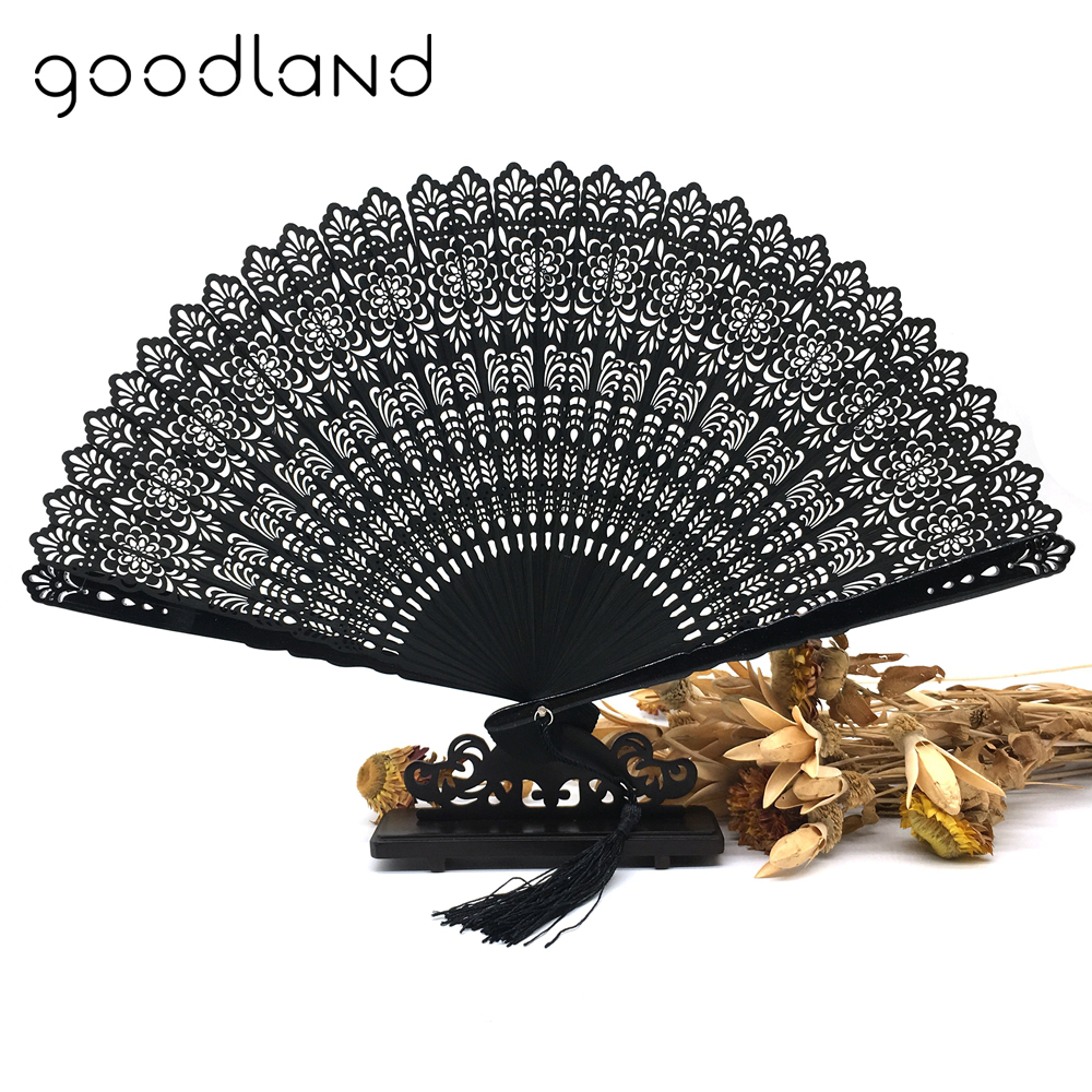 Free Shipping 1pcs Black Bamboo Trim Carved Folding Fans Wedding Decoration Mariage Birthday Party Supplies Christmas Gift