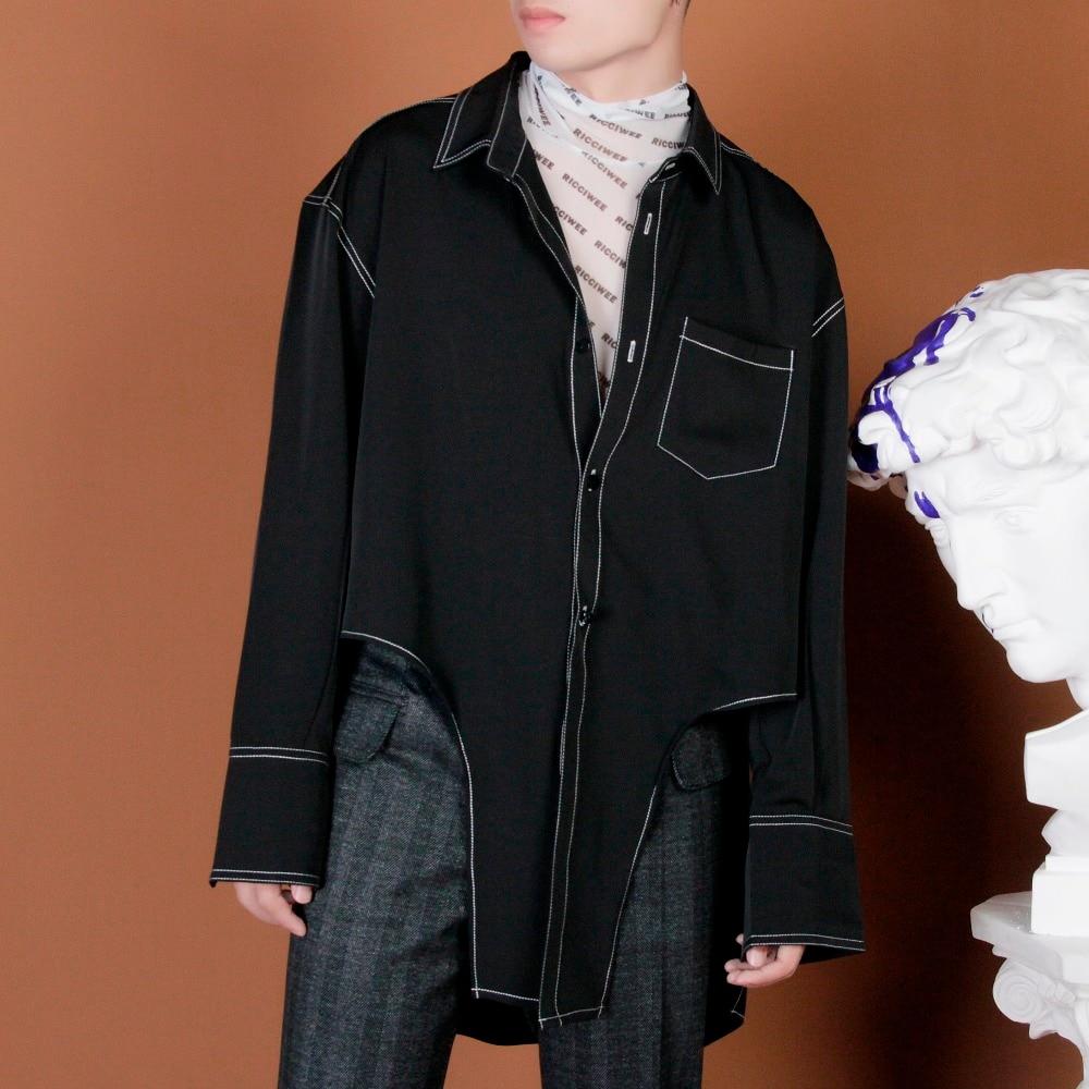 Plus S La Scène Taille Originale 5xl 2018 Hommes Costumes Longue Conception Mode Lumineux Vêtements De Chemise blanc Noir Chanteur Amoureux Cheveux Styliste Ligne qraqRZwfx