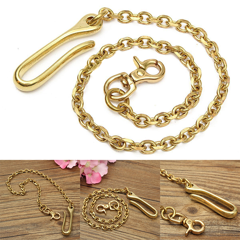 18 inch Solid Brass Trouser Jean Wallet Chain Keychain For Motorcycle Biker Trucker Apparel Matching Supply 45cm Shellhard