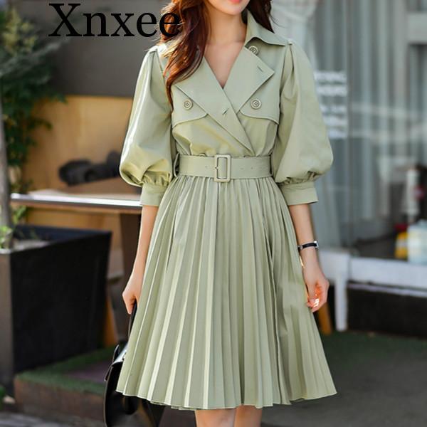 Xnxee Spring Fashion Elegant Long   Trench   For Girls Women 2019 New Green Lantern Sleeve Swing Windbreaker Outwear