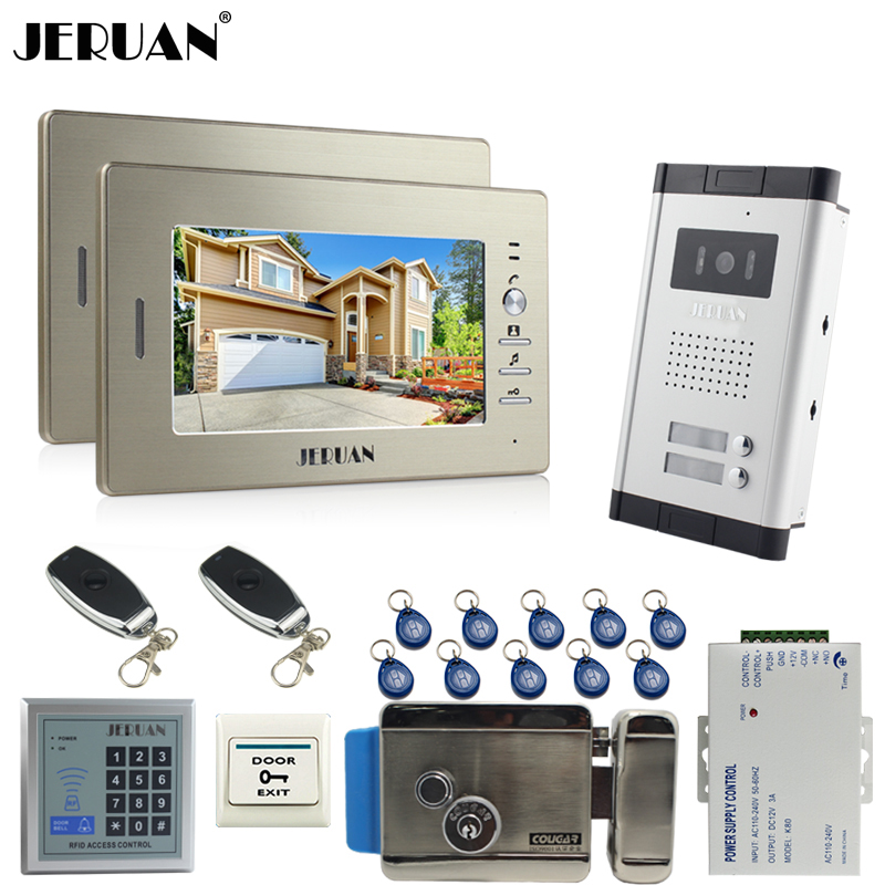JERUAN 7 inch LCD video door phone 2 Golden Monitor 1 HD Camera Apartment 1V2 Doorbell+RFID Access Control+FREE SHIPPING jeruan 7 inch lcd monitor 2 sets of 700tvl camera apartment video door phone 4 sets access control home security suite