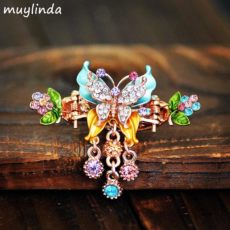 muylinda Rhinestone πεταλούδα μαλλιά Claw Clip Γυναίκες Μικρές Φουρκέτες Clips Κοσμήματα Vintage μεταλλικά αξεσουάρ μαλλιών