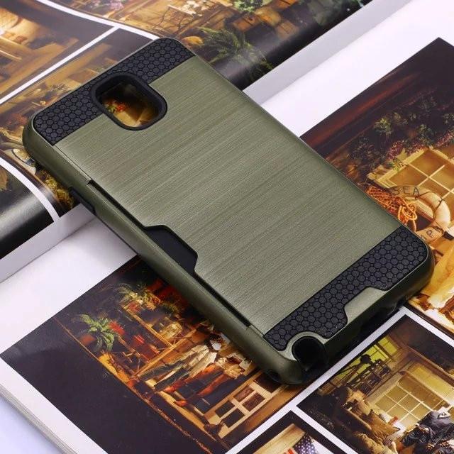 Slim Fit Pelindung Kasus dengan built-in Kartu Kredit ID Slot Disikat Logam  Tekstur untuk SAMSUNG GALAXY CATATAN 3 note 4 catatan 5 a9c6f026bbca