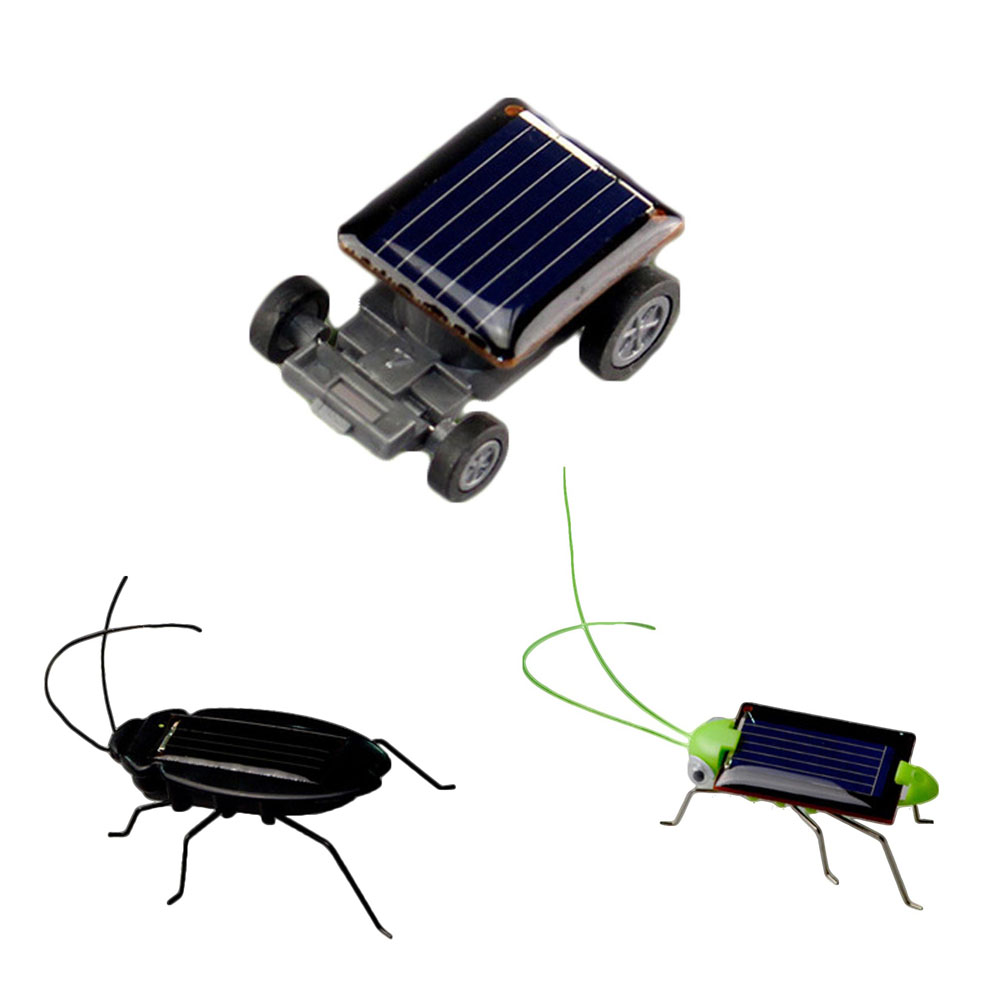 1pc Mini Novelty Kid Solar Energy Powered Car Cockroach Power Robot Bug Grasshopper Educational Gadget Toy For Children