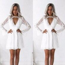 streetwear white solid v-neck lace sexy woman dress above knee mini flare sleeve sheath slim fashion female dress thalgo очищающий гель для снятия макияжа 150 мл