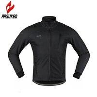 ARSUXEO Cycling Jacket Winter Fleece Windproof Men Coat Bike Thermal Jersey Long Sleeves Outdoor Sports Men