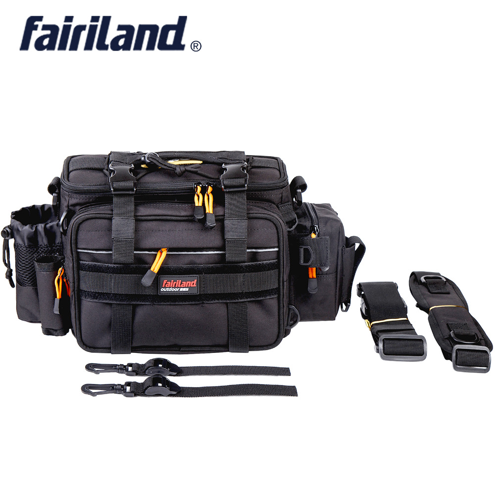 Fairiland Large-size Manly 3-Color Fish Bag Multifunctional Shoulder Waist Fishing Gear Lure Bait Reel fishing tackle bag dream m19 multifunctional opie fishing reel bag fishing bags pole tackle military lure reel backpack fishing gear 33 13 23cm