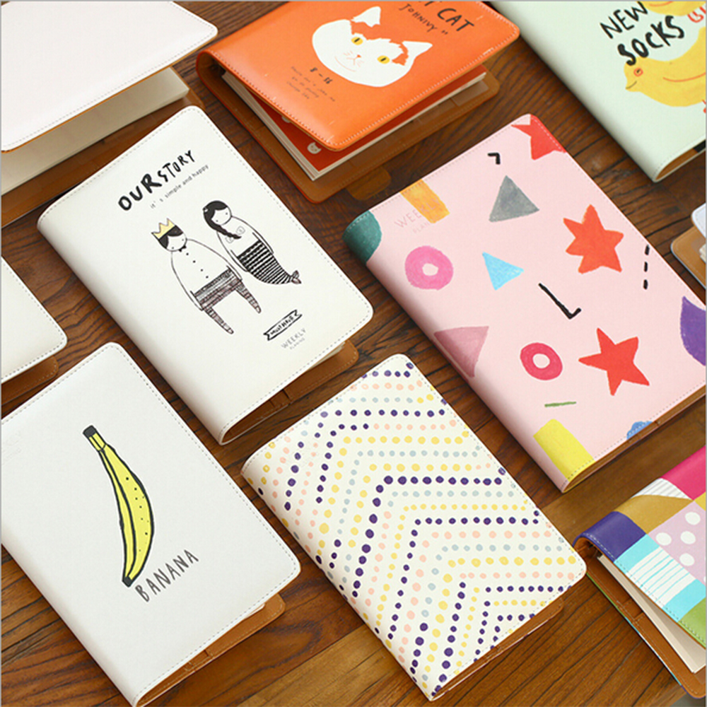 A5A6 Cartoon Kawaii Leather Cover Binder Planners Diario School Stationery Spiral Organizer Cute Plan Accessory Binder Planner бра donolux opera w110188 2red