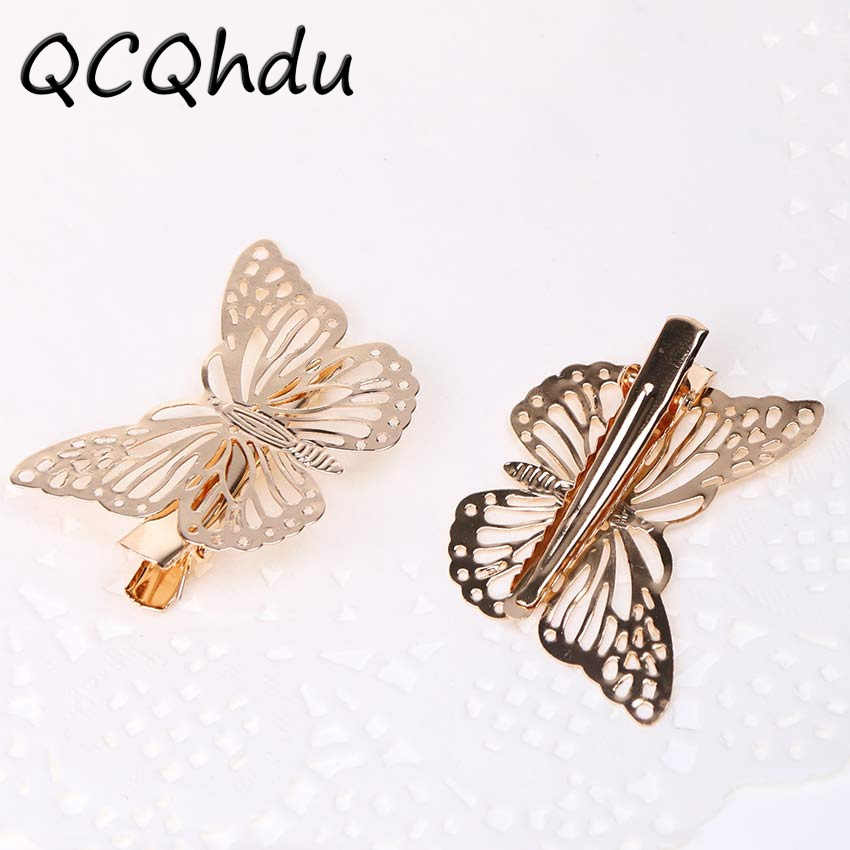 8PCS Hollow Butterfly Hairpins Clips Bride Hairwear Women Hairgrips Summer Wedding Party Hair Jewelry
