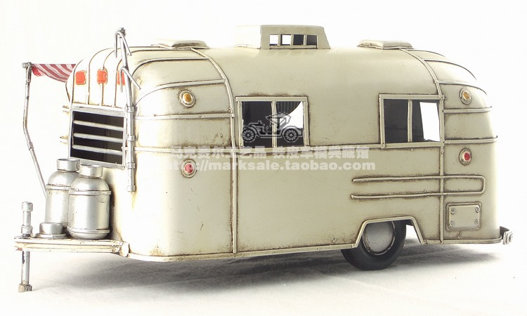 Antique Classical Camping RV Car Model Retro Vintage Wrought Handmade Metal Crafts For Home Pub Cafe Decoration Or Birthday Gift In Figurines Miniatures