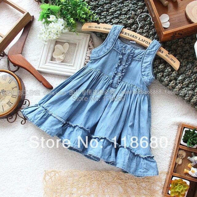 Лето платье девочки одежда дети деним платье девочка без рукавов подтяжк платье дети свободного покроя платье