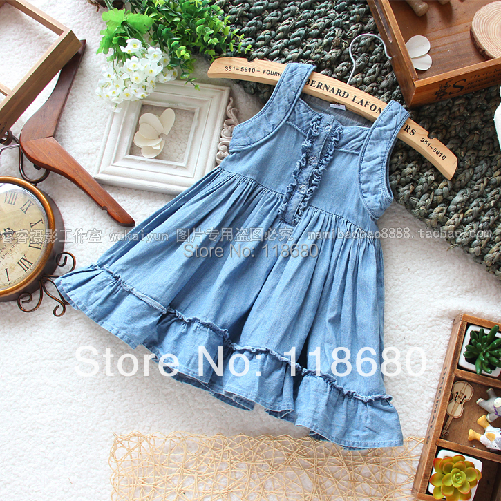 Free shipping new 2014 summer dress girls clothes child denim dress baby girl sleeveless suspender dress kids casual dress 6 size new 2014 summer baby
