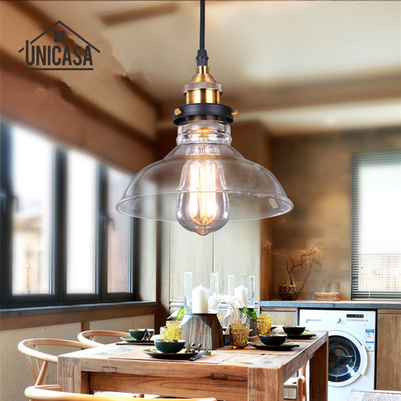 Modern Glass Shade Pendant Lights Vintage Lighting Fixtures Kitchen Island Office Shop Bar Hotel Industrial Pendant Ceiling Lamp modern shade glass artistic pendant golden and black e14 bulb modern lighting sphere beanstalk molecular mall shop decoration