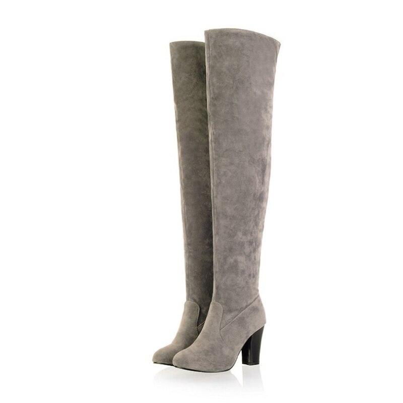 Suuri koko 34-43 naisten saappaat muoti Yli-polvi-kantapää pitkät - Naisten kengät - Valokuva 3