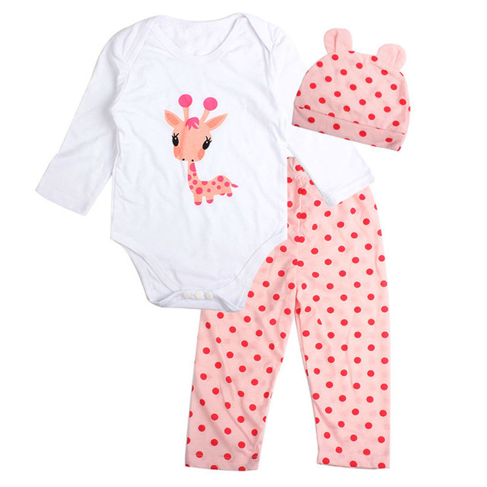MUQGEW 3pcsKids Clothing For Sale giraffe Printed Clothes Set Romper+Dots/stripe Pants+Hat Outfits Infant-Clothing Bebes Q06