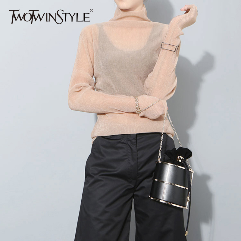 TWOTWINSTYLE Turtleneck T Shirt For Women Long Sleeve Slim Basic Pullover T Shirts Tops Female Spring Fashion Casual Clothing