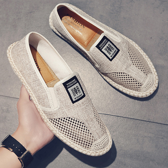 2019 Summer Flat Mens Shoes Breathable Cool Mesh Fisherman Shoes Fashion Slip on Linen Canvas Driving Shoes Man