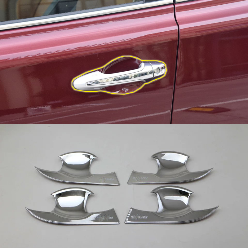 Car Accessories Exterior Decoration ABS Chrome Door Handles Bowl Cover Trims For Toyota RAV4 2016 Styling