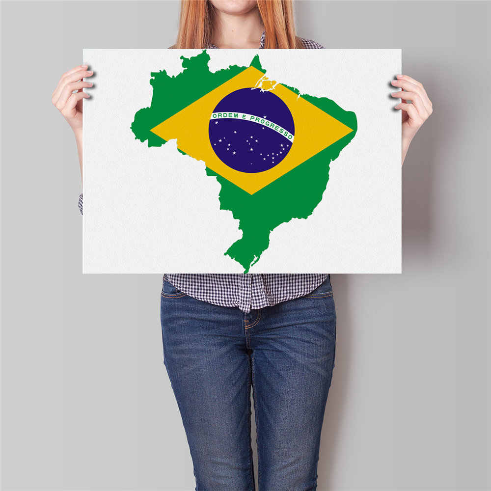 Brazil Country Flag Map Paper Print posters Wall Bar Cafe Antique Wall Art Crafts Sticker Living Room Decor 42x30cm