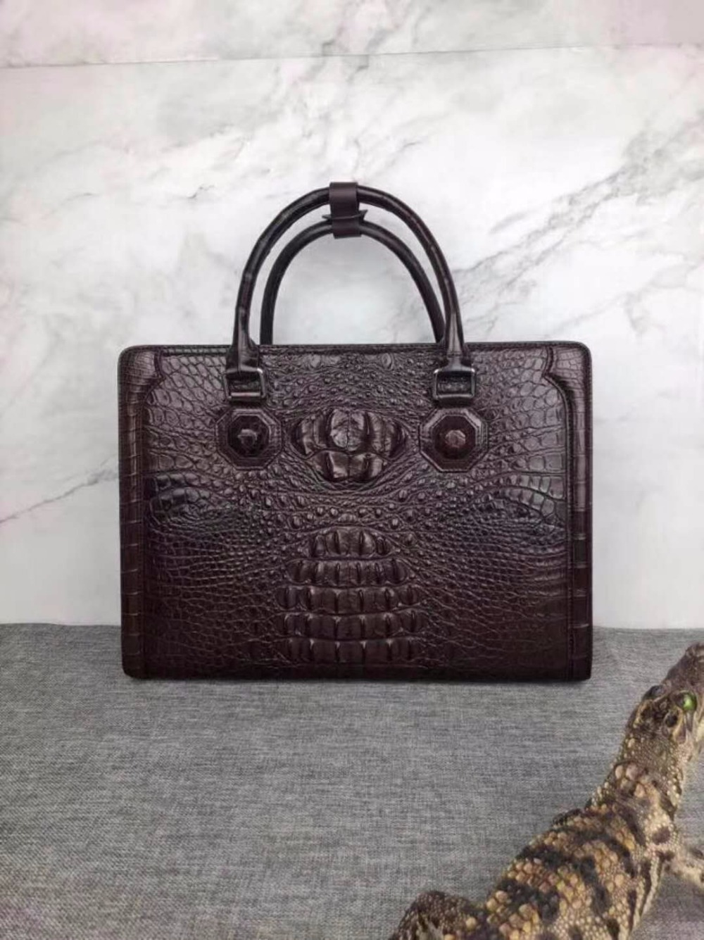 2018 Newly Design Men's Genuine/Real 100% Crocodile Skin Briefcase Laptop Bag, Crocodile Skin Business Men Bag Brown Color