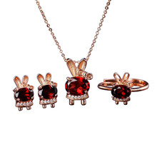 fashion cute white rose gold color 925 sterling silver natural red garnet earring necklace pendant ring jewelry set for female