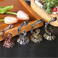 Floral Curtain Hook Chinese Style Home Decor Pothook Curtain Accessories 1 Pair Rose Bronze Decorative Wall