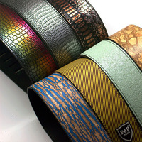 High quality electric guitar bass strap multicolor printed cloth acoustic guitar leather strap S519