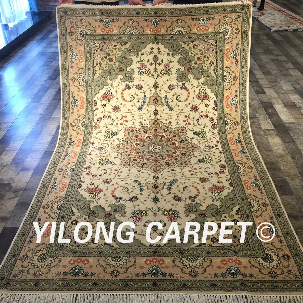 Yilong 5'x8 'tapis Antique noué à la main tapis traditionnel en laine de soie persane (WY2024S5x8)