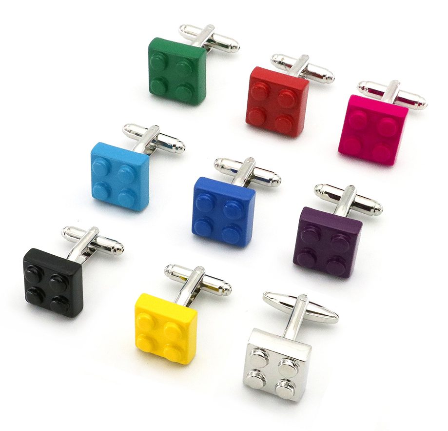 Free Shipping Men Cufflinks Muti-color Bricks Design Blue Red Black 6 Colors Option Copper Novelty Cuff Links Wholesale&retail igame gamepad cuff links 3 styles option funny joystick design free shipping