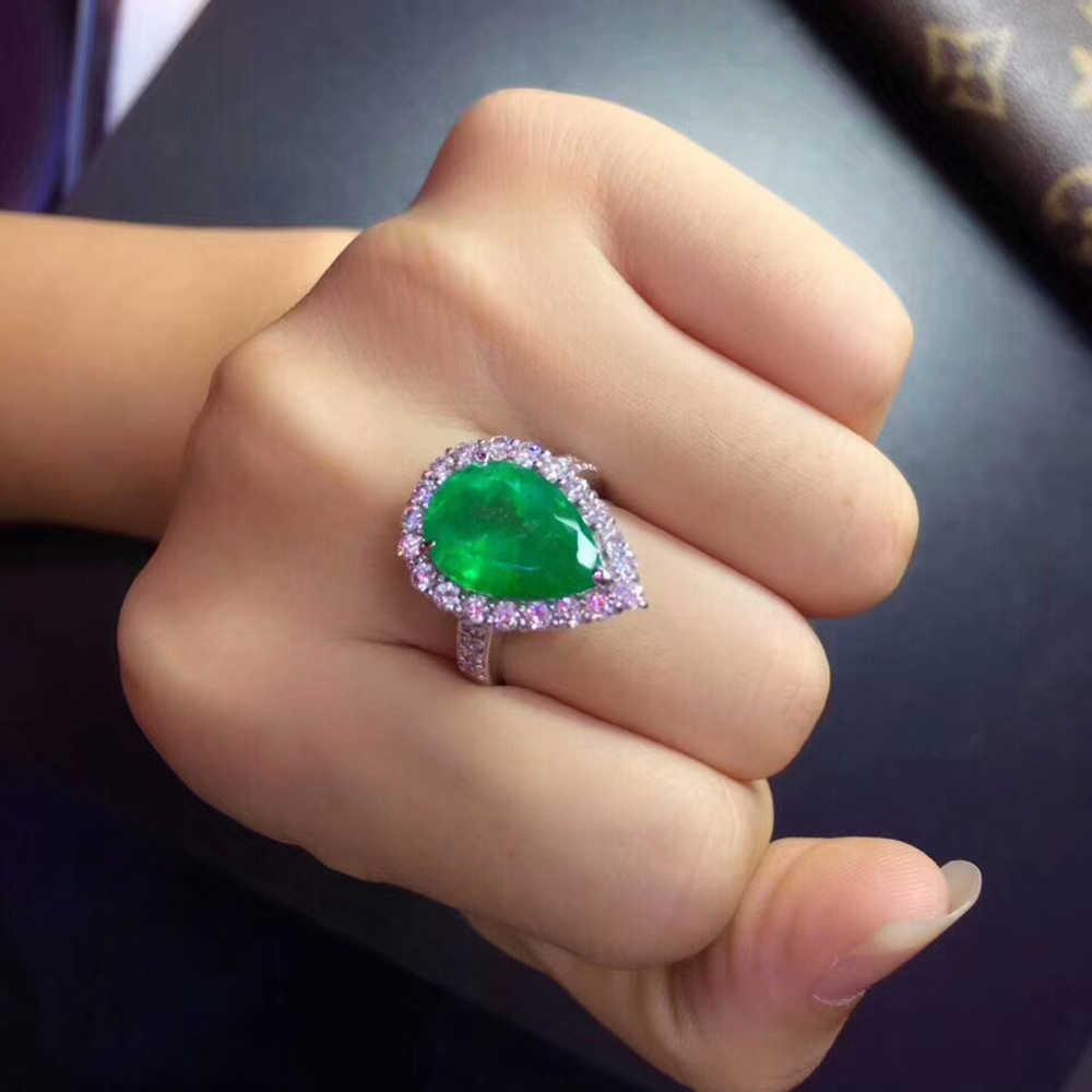 AEAW 4ct AAA אגס מעבדה קולומביאני אמרלד CCE Emgagement טבעת אמיתי מוצק 14k זהב לבן עם מעבדת יהלומים moissanite