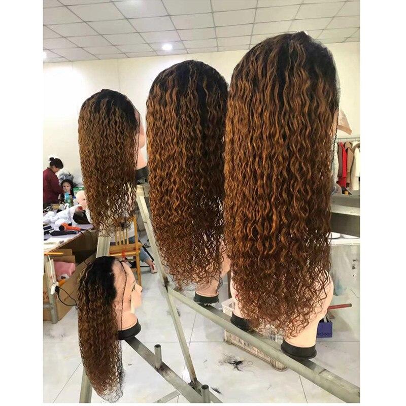 250 Плотность 13x6 Синтетические волосы на кружеве парики из натуральных волос на кружевной 1b 30 Цвет Синтетические волосы на кружеве эффектом деграде (переход от темного к вьющийся парик для Для женщин бесклеевой предварительно черные волосы Remy - 4