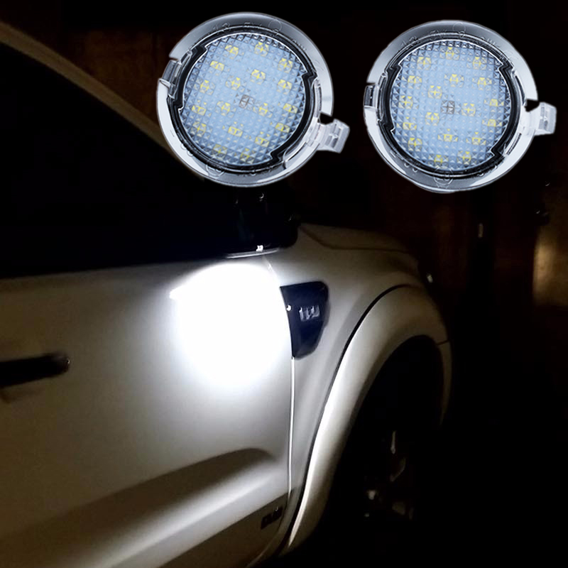 2Pcs LED Under Mirror Puddle Light for Ford Edge Explorer Mondeo Taurus F-150 Expedition S-Max Fusion Flex Car-Styling