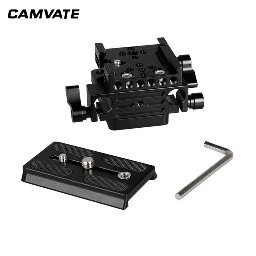 CAMVATE QR Manfrotto Connect Adapter With Sliding Mounting Plate + Base Plate + 15mm Dual Rod Clamp  C2175